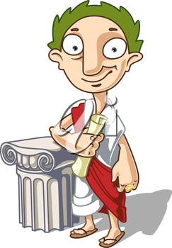 The Antique Emperor is standing near the ionic capital with a manuscript in his hand. This is the editable vector image saved in EPS file. Rate it if you like it!
