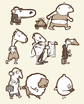 Royalty Free Clipart Image of Funny Characters