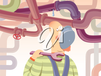 The plumber with the spanner is watchin at the waterdrop oozing from the pipe.Editable vector EPS v9.0