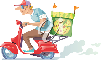 Royalty Free Clipart Image of a Pizza Delivery Guy on a Moped
