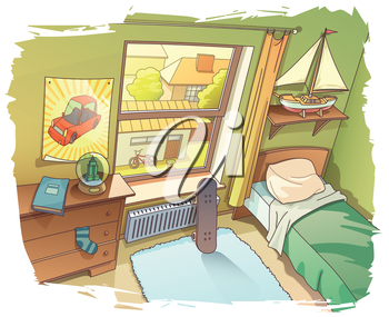 A bit messy room of a young boy. There are a skateboard near the window and the BMX bicycle outside on a backyard. 