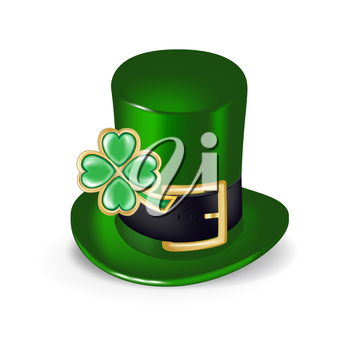 green hat with clover symbol isolated on white
