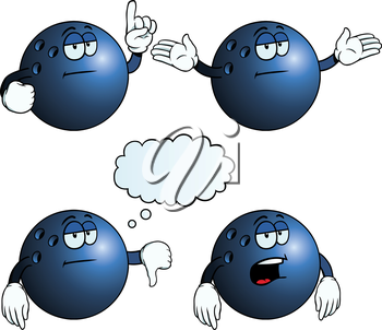 Royalty Free Clipart Image of Bored Bowling Balls