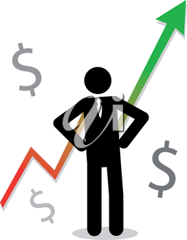 Royalty Free Clipart Image of a Man with a Profit Arrow