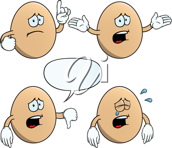 Royalty Free Clipart Image of Sad Eggs