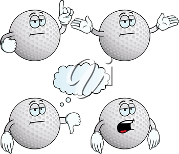 Royalty Free Clipart Image of Bored Golf Balls