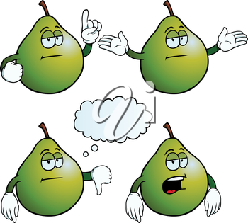 Royalty Free Clipart Image of Bored Pears