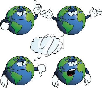Royalty Free Clipart Image of a Bored Earth