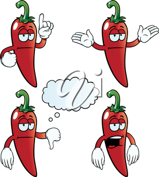 Royalty Free Clipart Image of Bored Peppers