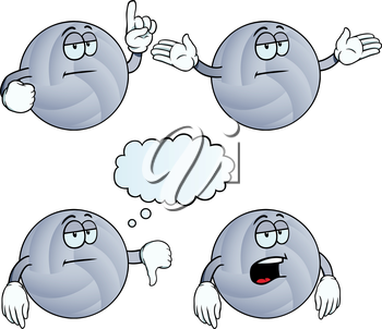 Royalty Free Clipart Image of Bored Volleyballs
