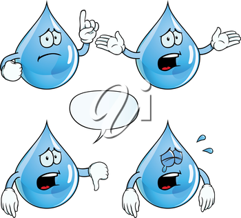 Royalty Free Clipart Image of Sad Water Drops