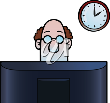 Royalty Free Clipart Image of a Man Working