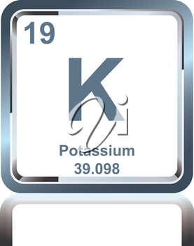 Symbol of chemical element potassium as seen on the Periodic Table of the Elements, including atomic number and atomic weight.