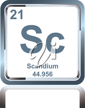 Symbol of chemical element scandium as seen on the Periodic Table of the Elements, including atomic number and atomic weight.