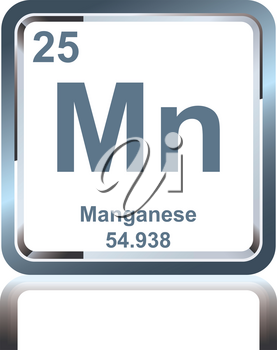 Symbol of chemical element manganese as seen on the Periodic Table of the Elements, including atomic number and atomic weight.