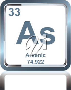 Symbol of chemical element arsenic as seen on the Periodic Table of the Elements, including atomic number and atomic weight.