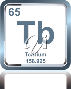 Symbol of chemical element terbium as seen on the Periodic Table of the Elements, including atomic number and atomic weight.