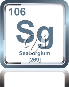 Symbol of chemical element seaborgium as seen on the Periodic Table of the Elements, including atomic number and atomic weight.