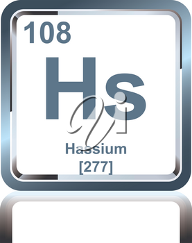 Symbol of chemical element hassium as seen on the Periodic Table of the Elements, including atomic number and atomic weight.