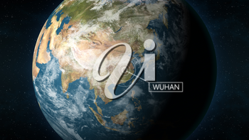 3D Illustration depicting the location of Wuhan, the capital of province Hubei, China, on a globe seen from space. Wuhan is known for the 2019 and 2020 coronavirus outbreak.