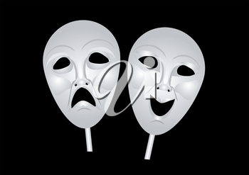 theater masks of drama and comedy. 10 EPS