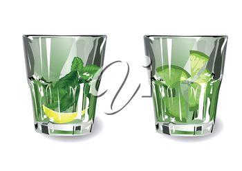 two glasses with green cocktails. 10 EPS