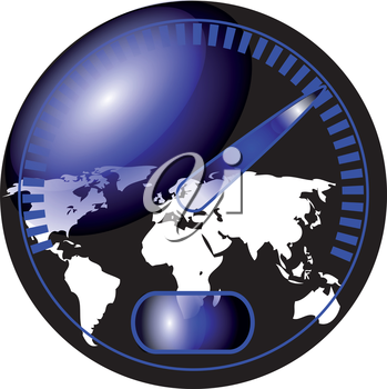 speedometer with a map of the world