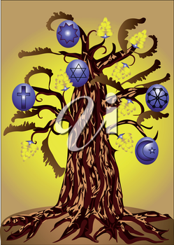 tree with symbols of religions on fruit