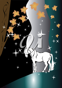 unicorn in the night forest. abstract background