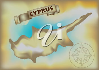 abstract geographical map of cyprus. 10 EPS