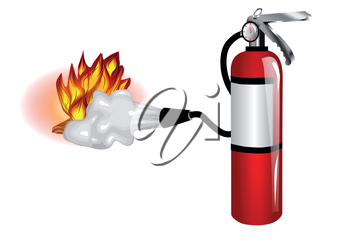 fire extinguisher use. extinguisher and fire isolated on white