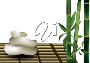 Bamboo and stones isolated on a white background