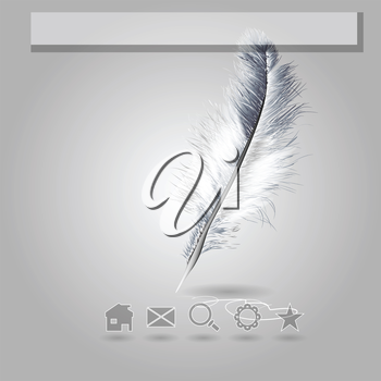 feather. template for web site with icon and white feather