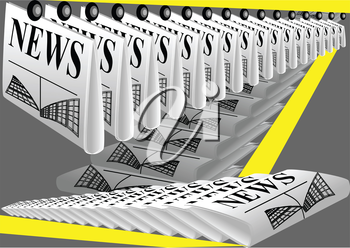 newspaper printing. row of newspaper on gray background