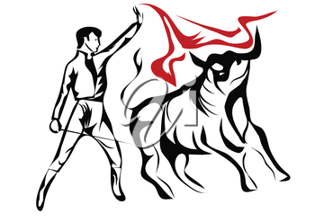 spanish bullfighter. abstract silhouette isolated on a white background