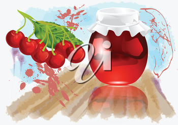 cherry jam on abstract multicolor grunge background