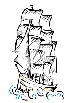 tall ship isolated on a white background