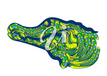 caiman brazil. abstract ethnic crocodile on white background
