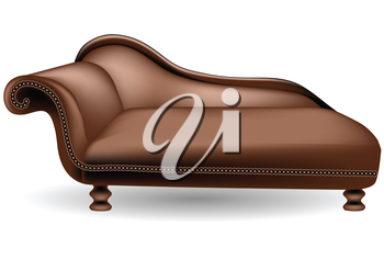 brown couch on white background. 10 EPS