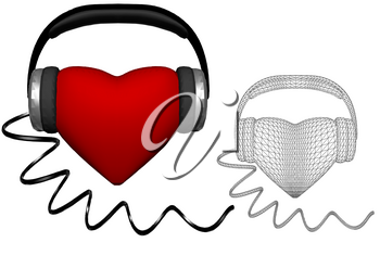 heart with headphones isolated on white background