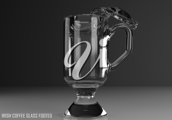 irish coffee glass footed 3D illustration on dark background