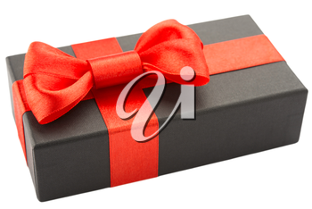 Black gift box with red bow, isolated on white background