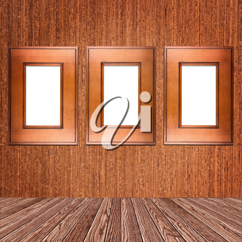 photo frame on wooden wall with clipping path