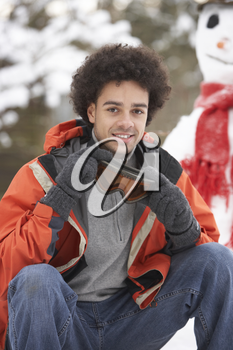Man Wearing Winter Clothes In Snowy Landscape