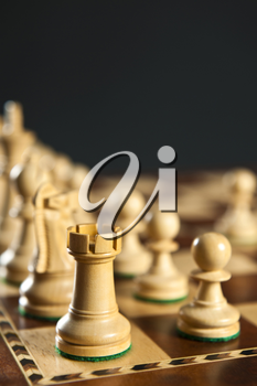Close up of white chess pieces on wooden chessboard