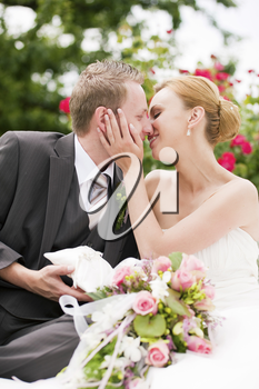 Wedding - groom kissing the bride in a park, he is holding the rings, roses in the background
