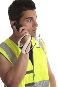 Tradesman, handyman, builder on cell phone and looking sideways, suitable for a message.  White background.