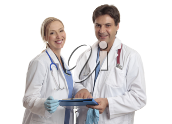 Doctors or surgeons or other healthcare professionals smiling happily.