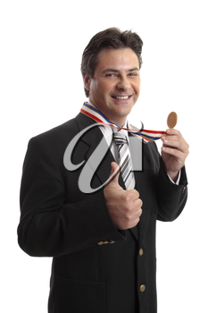 Businessman with awarded medal.   Business, personal, sporting success  or other recognition