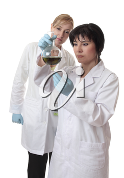 Two female scientists analyse chemical mixture.